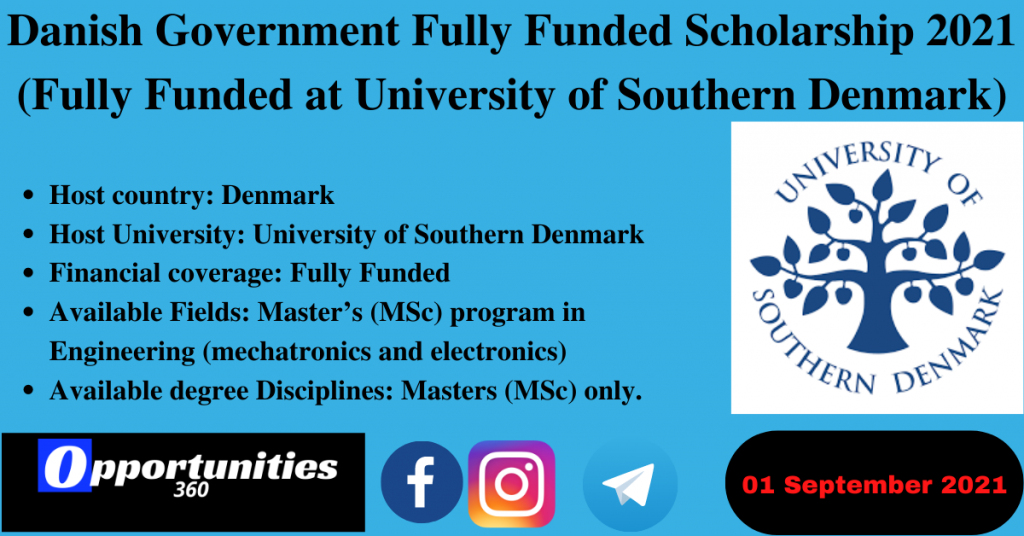 Danish Government Fully Funded Scholarship 2021 (Fully Funded at University of Southern Denmark)