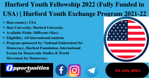 Hurford Youth Fellowship 2022 (Fully Funded in USA)   Hurford Youth Exchange Program 2021-22