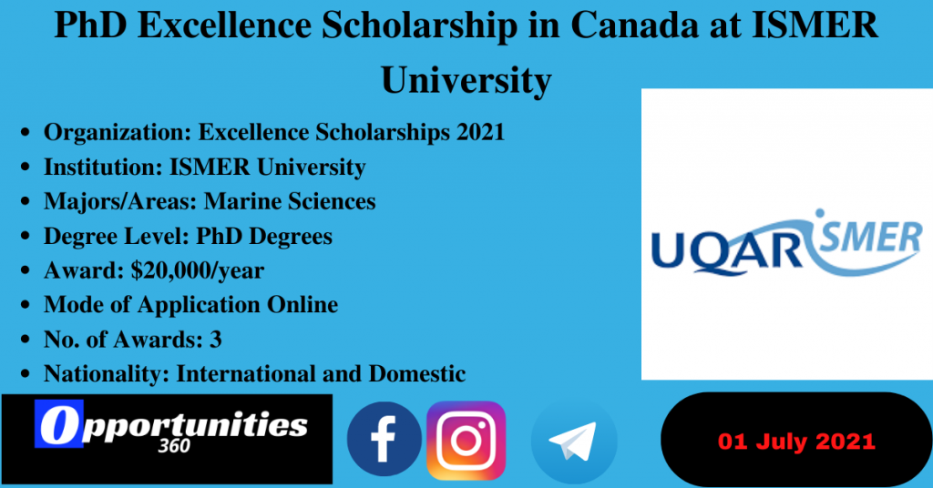 PhD Excellence Scholarship in Canada at ISMER University