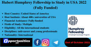 Hubert Humphrey Fellowship to Study in USA 2022 (Fully Funded)