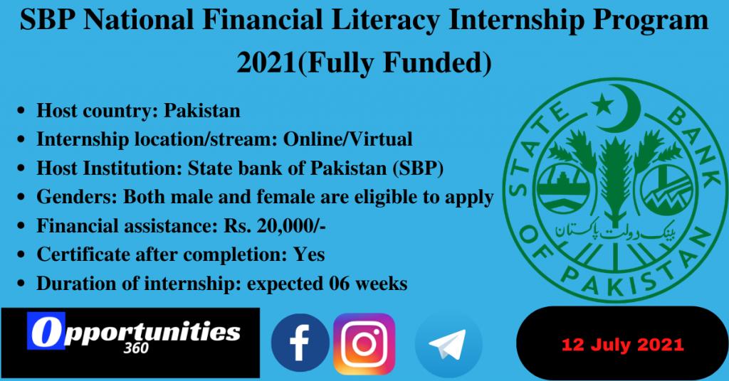 SBP National Financial Literacy Internship Program 2021