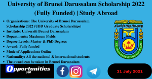 University of Brunei Darussalam Scholarship 2022 (Fully Funded)   Study Abroad