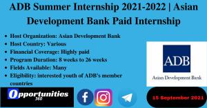ADB Summer Internship 2021-2022   Asian Development Bank Paid Internship