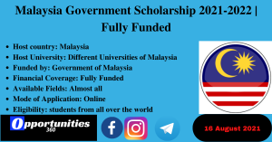 Malaysia Government Scholarship 2021-2022   Fully Funded