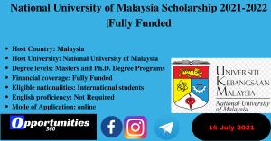 National University of Malaysia Scholarship 2021-2022  Fully Funded