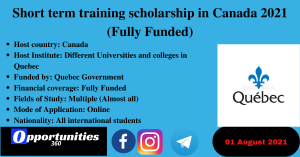 Short term training scholarship in Canada 2021 (Fully Funded)