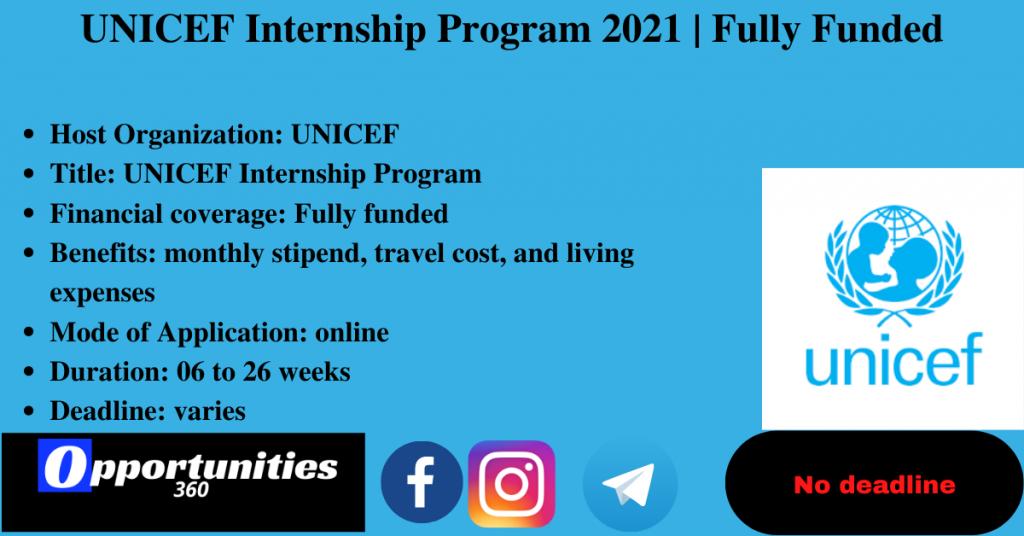 UNICEF Internship Program 2021 | Fully Funded