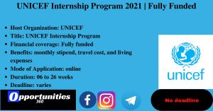 UNICEF Internship Program 2021   Fully Funded