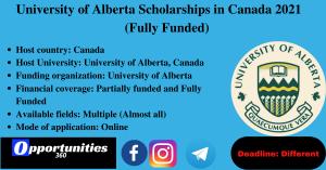 University of Alberta Scholarships in Canada 2021 (Fully Funded)