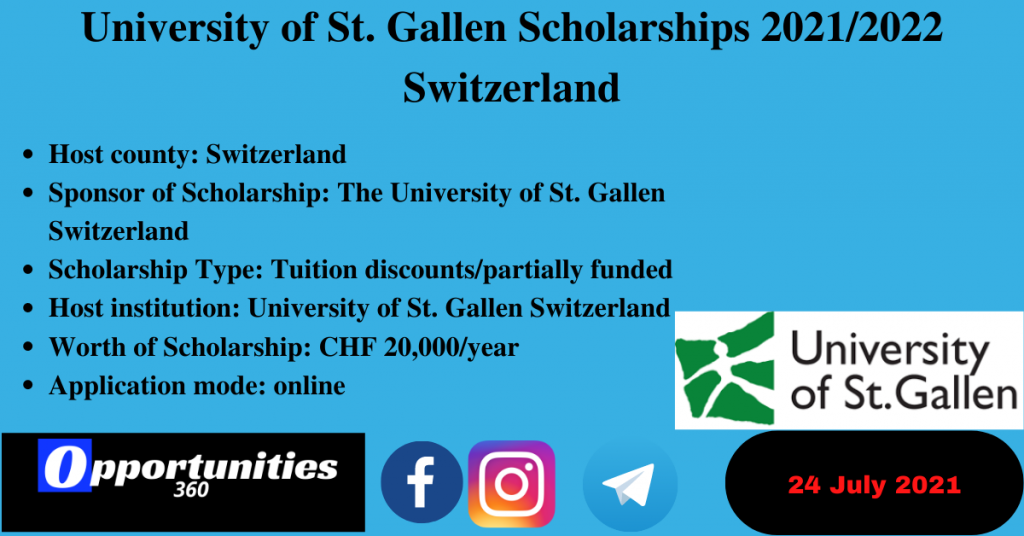 University of St. Gallen Scholarships 2021/2022 Switzerland