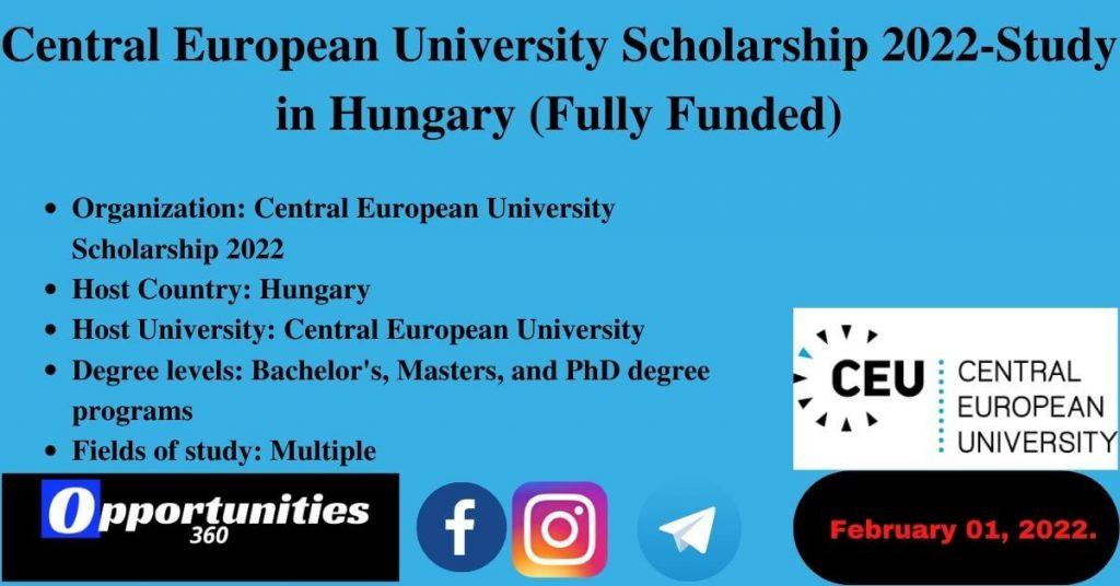 Central European University Scholarship 2022