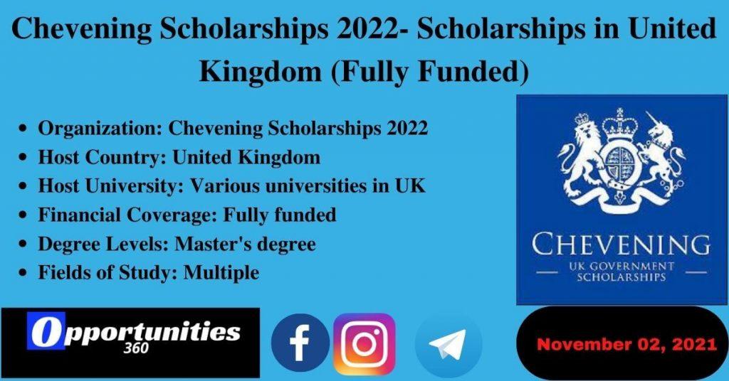 Chevening Scholarships 2022