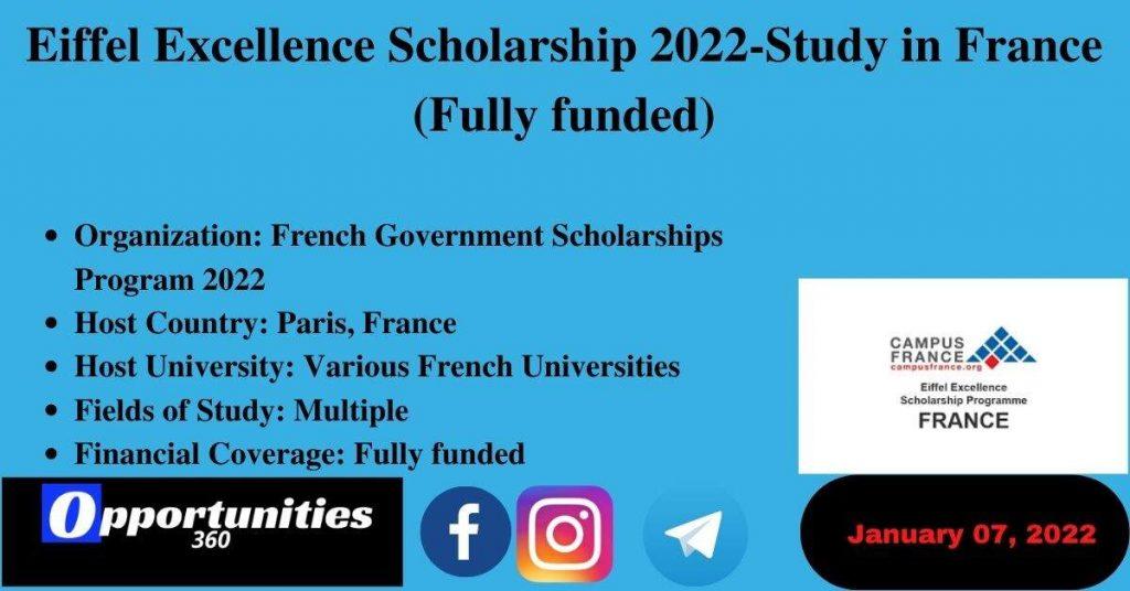Eiffel Excellence Scholarship 2022