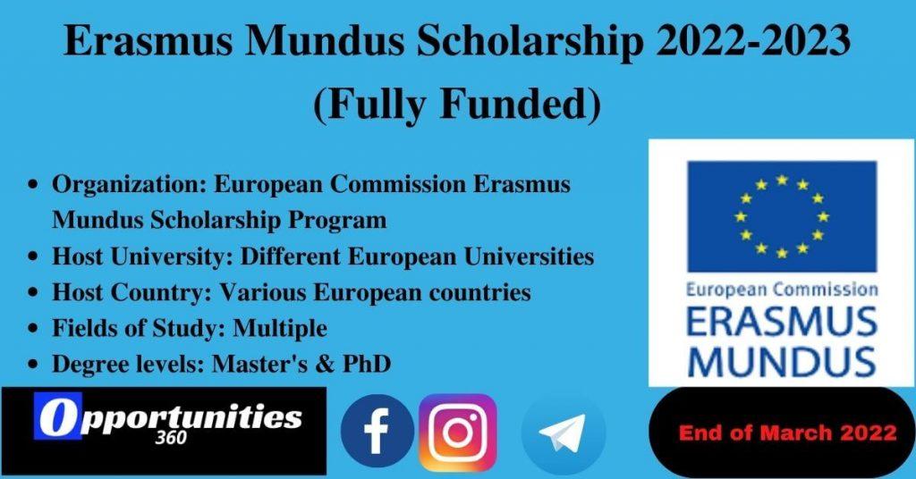 Erasmus Mundus Scholarship 2022