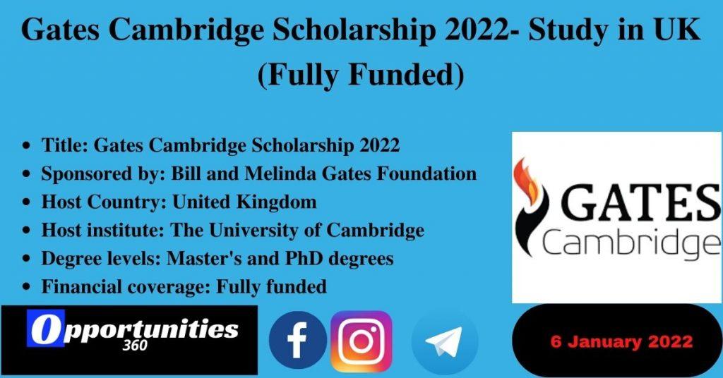 Gates Cambridge Scholarship 2022