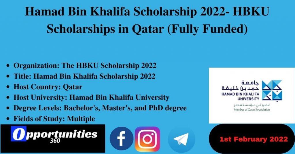 Hamad Bin Khalifa Scholarship 2022