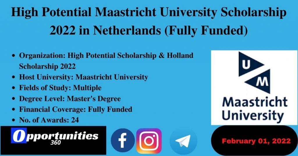 High Potential Maastricht University Scholarship 2022