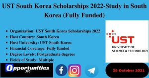 UST South Korea Scholarships 2022